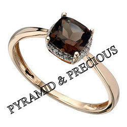 Smoky Quartz With Cz Stone Silver Ring