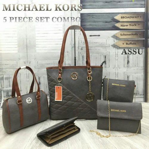 5f6fa19c7667 Brown Foam Leather Mk 5 Pc Combo Ladies Bag, Rs 800 /piece | ID ...