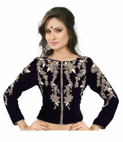 1dc06887894ff5 Designer Blouse - Drapme Round Neck Black Velvet Jacket Blouse ...