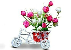 Hyperboles artificial flowers with cute rickshaw stand