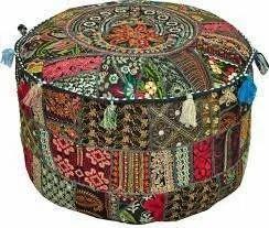 Bohemian Patch Work Pouf Ottoman Cover