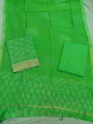Green Pigment Print Chanderi Suit