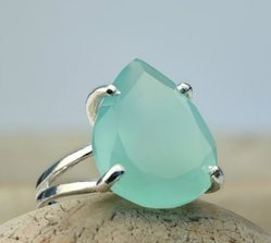 Aqua Chalcedony Prong Set Ring
