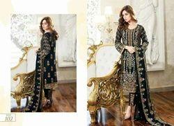Unstitched Pure Chiffon Pakistani Suit, Dry clean