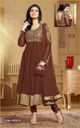 Party Wear Naylon Soft Net Anarkali Suit