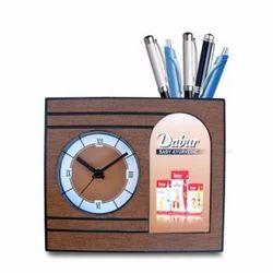Promotional Desk Clock Pen Stand