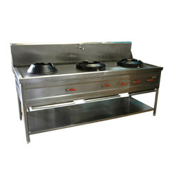 Stainless Steel Three Burner Chinese Range, for Hotel