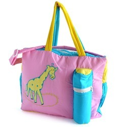 Blue, Yellow And Pink Giraffe Print Baby Mother Bag