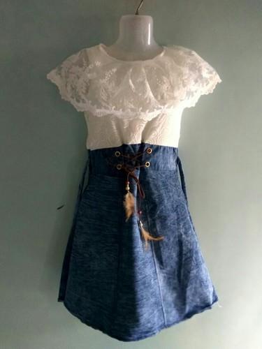 d1e3aee464b White And Blue Festive Wear Denim Frock