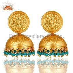18k Gold Plated Silver Turquoise Gemstone Jhumka Earrings