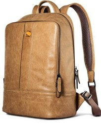 Leather Tan Laptop Back Pack