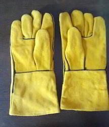 Unisex Yellow Fox Leather Welding Gloves CE Certified, Size: Large