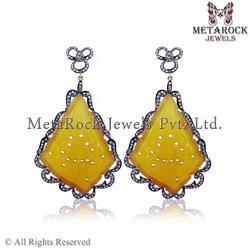 Pave Diamond Stylish Carving Dangle Earrings
