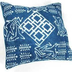 Cotton Block Print Indigo Squares Cushion Cover