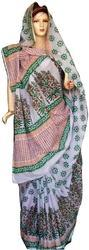 Cotton Green and White Block Printed Stylish Saree, Length: 5.5 m