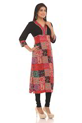 Rayon Printed Kurti With Embroidery