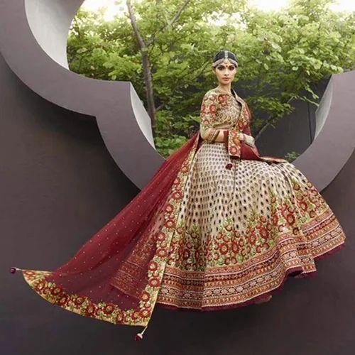 f773460ffc Art Silk Crystal Cream And Maroon Bridal Lehenga Choli - Indeez ...