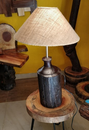 LED Handmade Wooden Lamp With Fabric Shade