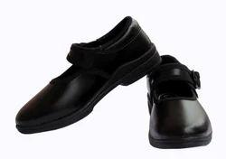 Black Unisex Girl School Uniform Shoes, Buckle And Laces, Size: Options