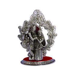 White Metal Radha Krishna Mehrav Statue