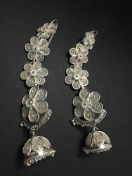 Odissi Dance Silver Filigree Kaan Earrings