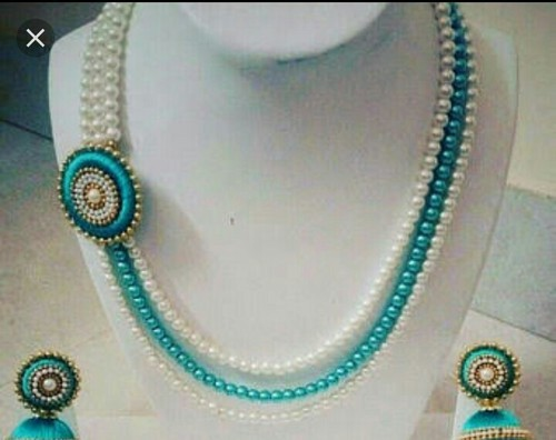b494953a479 White And Green Pearl Necklace Set