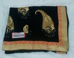 Black With Zari Border Georgette Designer Saree, 6.3 MTS, With Blouse Piece