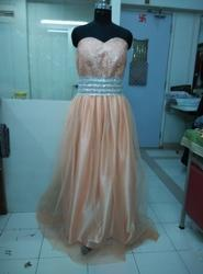 Peach Offshoulder Party Wear Gown