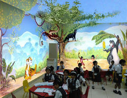 3d Cartoon Wall Painting For Play School, Paint Brands Available: Asian Paints, Type Of Property Covered: Commercial
