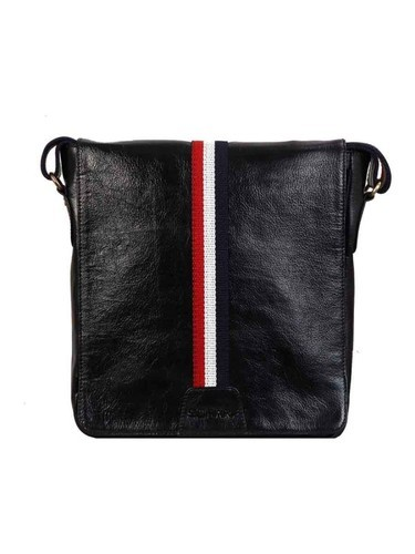 Leather Crossbody Messenger Bag For Men In Black Color