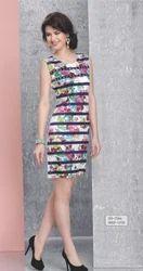 Indo Western Round Neck Ladies Cotton Printed One Piece Dress