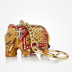 Wooden Elephant Key Chain