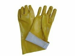 yellow PVC Supported Gloves, For Industrial, Size: Large
