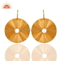 Designer 18k Gold Plated Disc Earrings Jewelry