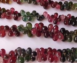 Watermelon Tourmaline Faceted Tear Drops beads