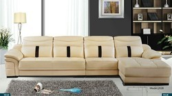 Solid Wood and Leather 6 Seater L Shape Sofa Set