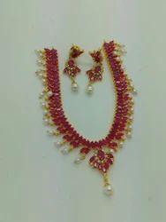 Jadau Red Necklace Set