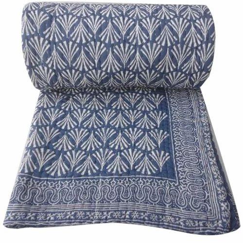 Hand Block Print Cotton Kantha Quilt, Size: Queen/Double (90x108 ... : how to kantha quilt - Adamdwight.com