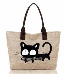 Brown Adn Black Casual Women''s Shoulder Bag With Cat Print