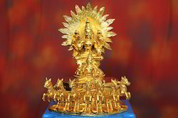 Gold Plated Lord Surya Dev Statues