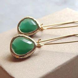 Falak Gems Sterling Silver Jade Glass Earrings