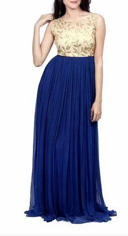 Golden Blue Gown at Rs 999 /piece(s) | Ladies Gown Suit, Ladies Ka ...