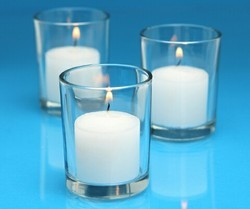 White Glass Candle