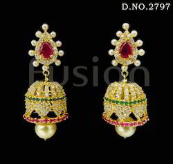 American Diamond Jhumka Earrings