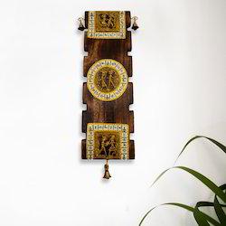 ExclusiveLane Dhokra & Warli Handpainted Wooden Wall Hanging