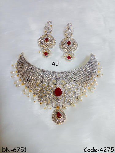 76910c940c9351 Designer American Diamond Choker with Pearl, अमेरिकन ...