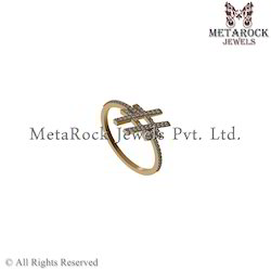 14k Yellow Gold Antique Designer Diamond Ring