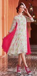 Pink , Cream, Indo Western Kurtis