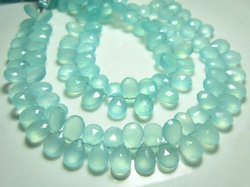 Aqua Blue Chalcedony Faceted Pear Briolette
