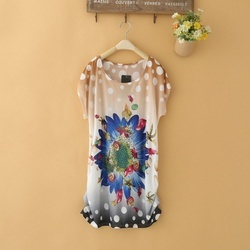 Flower Print Silk Tops